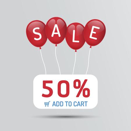割引と赤い風船販売紙店、小売店のポスター コンセプト アイコンです。ベクトル イラスト。  イラスト・ベクター素材