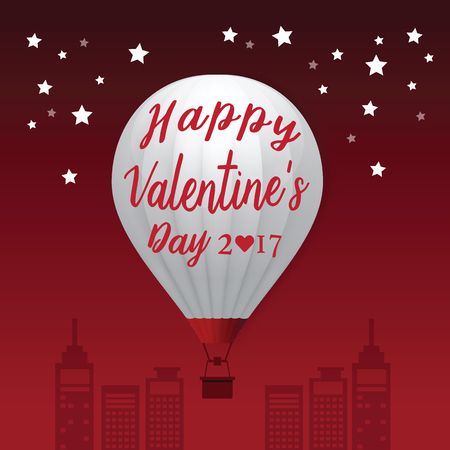 air: Valentines Day 2017 Heart Hot Air Balloons isolated on White Background. vector illustration Illustration