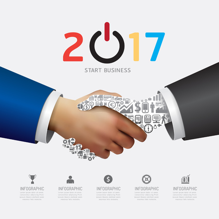 Business 2017 handshake success concept. Abstract elements of diagram, hand with icons. Vector illustration business infographics design template for presentation.