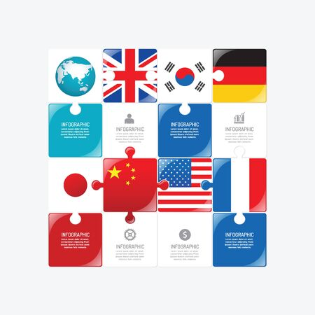 flag: Business data process chart. Abstract elements of jigsaw concept with icons. Vector illustration world business and finance infographics design template for presentation.