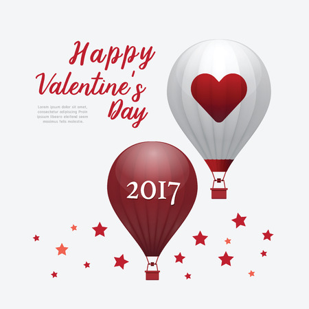 celebration background: Valentines Day 2017 Heart Hot Air Balloons isolated on White Background. vector illustration Illustration