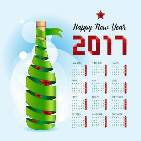 2017 カレンダー新年あけましておめでとうございますベクター デザイン。抽象的なリボン ワインのボトル形状のコンセプトです。