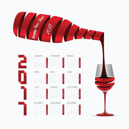 2017 カレンダー新年あけましておめでとうございますベクター デザイン。抽象的なリボン ワインのボトルとグラス形状のコンセプトです。