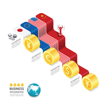 Business data process chart. Abstract elements of graph, diagram with nation flag and icons. Vector illustration infographics design template for presentation. Finance exchange rate concept.