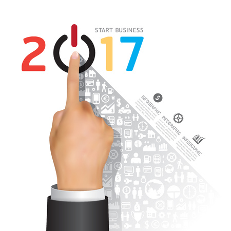 Business 2017 finger touch success concept. Abstract elements of diagram, hand with icons. Vector illustration business infographics design template for presentation.