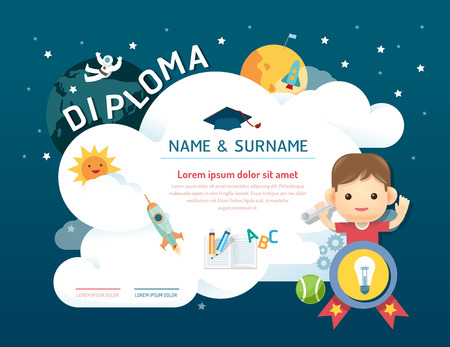 kids background: Certificate kids diploma, kindergarten template layout space background frame design vector. education preschool concept flat art style Illustration