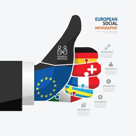 ビジネス データは、グラフを処理します。アイコンとジグソー パズルの概念の抽象的な要素は。図ヨーロッパ ビジネスをベクトルし、プレゼンテ