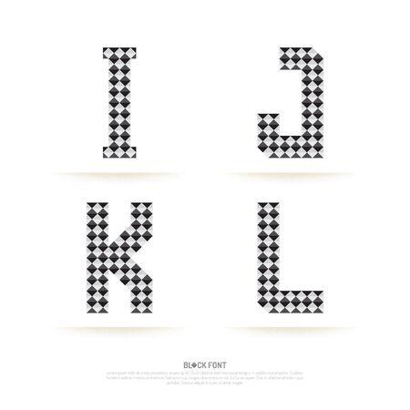 アルファベットのセット、ベクトル図です。ブロック スタイル。