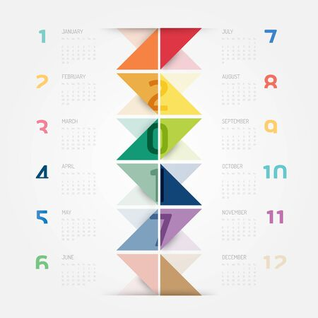 numbers background: 2017 Calendar colorful concept vector design.