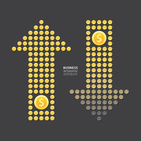 ビジネス矢印お金通貨ドル硬貨。抽象型の要素。ベクトル イラスト インフォ グラフィック デザイン、プレゼンテーション用のテンプレートです。