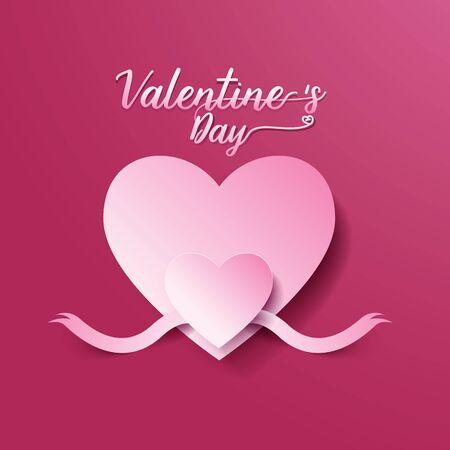 バレンタインデーの抽象的な背景。ハートとリボンはカット ペーパー コンセプトです。ベクトル図