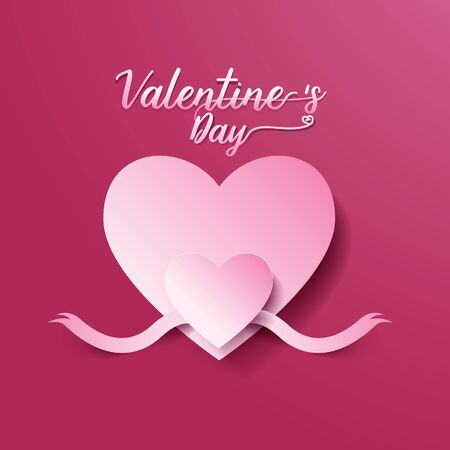 page layout: Valentines day abstract background. heart and ribbon cut paper concept. Vector illustration