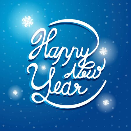 Happy New Year Font on blue and white snow vector background. Greeting card design template.