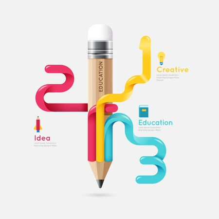 Pencil colorful science and education line concept vector design. illustration Illustration