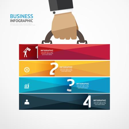 実業家の手でインフォ グラフィック テンプレート ビジネス スーツケース バナーを保持します。成功のステップの概念ベクトル図