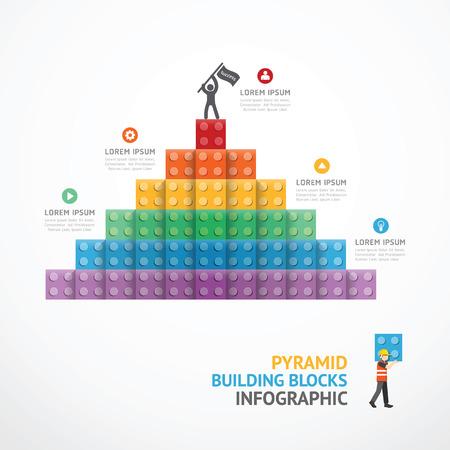 インフォ グラフィック テンプレート ステップ ピラミッドのブロックを構築します。概念ベクトル図  イラスト・ベクター素材