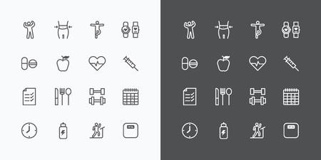 健康とフィットネス シルエット アイコン ライン デザイン ベクトル .for Web とモバイルをフラットします。