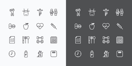 warm up: Health and Fitness silhouette icons flat line design vector .for Web and Mobile.