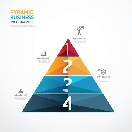ピラミッドの幾何学的なインフォ グラフィック テンプレート ビジネス成功のステップの概念。 ベクトル図