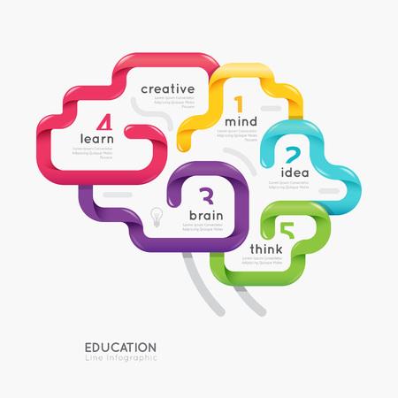 脳カラフルなライン概念ベクトル デザイン。図  イラスト・ベクター素材