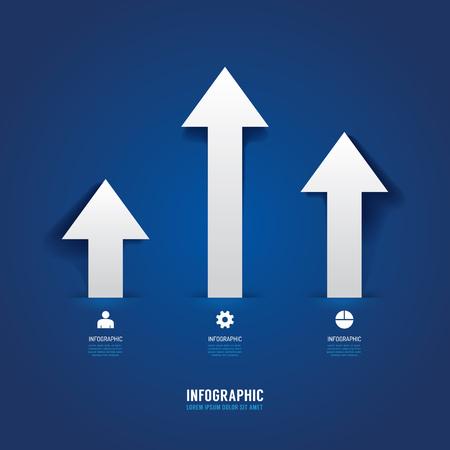 アイコンの矢印ビジネス コンセプト インフォ グラフィック デザイン ベクトル イラストです。