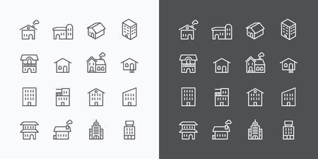 建物コレクションのアイコンを設定します。Web とモバイルのフラット ライン デザイン ベクトル。  イラスト・ベクター素材