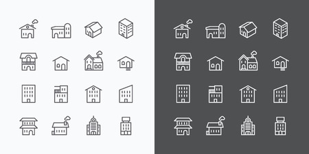 hotel building: Buildings Collection icons set. flat line design vector for Web and Mobile.