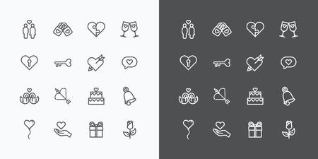 愛と結婚式のアイコン ラインのベクトルのデザイン  イラスト・ベクター素材