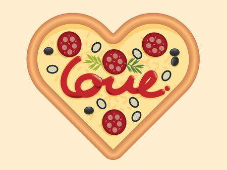 Liefde voor het conceptontwerp van de pizzahartvorm voor Valentijnskaartendag. Vectorillustratie