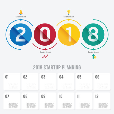 2018 Business startup planning vector with icons. Vector illustration business infographics design template for presentation.