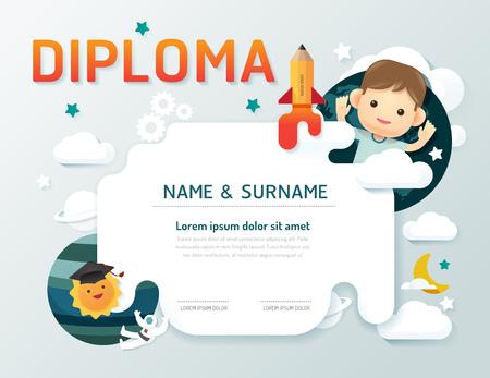 Certificate kids diploma, kindergarten template layout space background frame design vector. education preschool concept flat art style Stock Illustratie