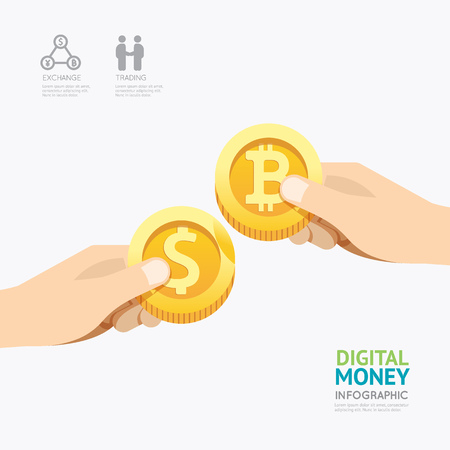 Infographic business digital cryptocurrency money template design. exchange electronic money concept vector illustration  graphic or web design layout.