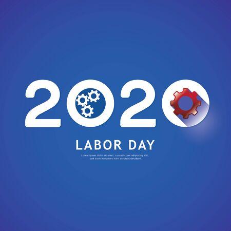 Labor day 2020 gear concept. Ilustração