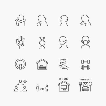 corona covid virus icons flat line design vector