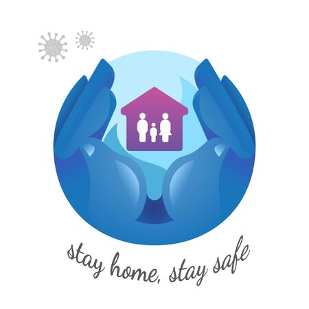 Hand holding house protect family from coronavirus.flat design, stay home, stay safe concept,on white background, vector illustration.