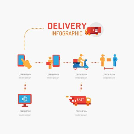 Delivery icons flat line Infographic design vector Illustration Set.