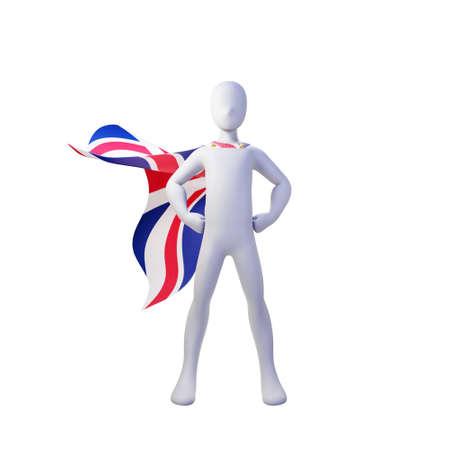 Superhero 3d render with england nation cape. 免版税图像