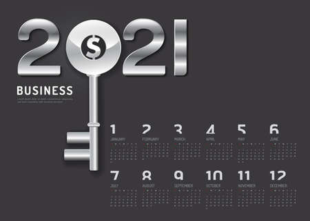 Calendar 2021 Concept Business Key  to success year .vector silver key on black background. Stock Illustratie