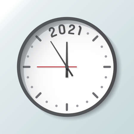 Clock isolated on background with copy space. 2021 countdown New Year and start up concept Ilustração