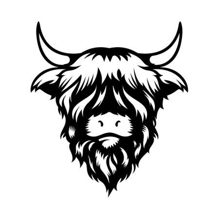 Highland cow head design on white background. Farm Animal. Cows icons. vector illustration.