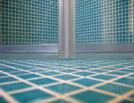Shower doors from floor view