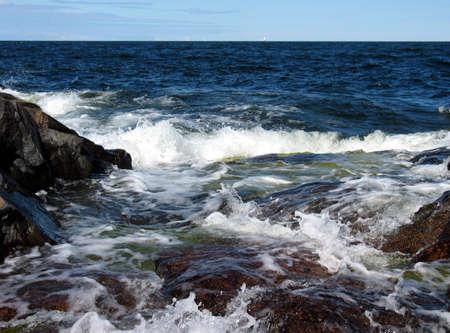 Wild ocean when water hit the cliffs