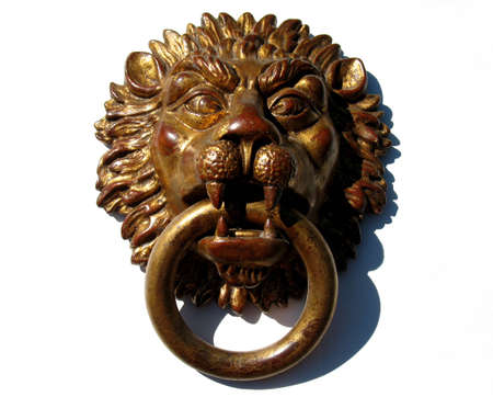 porter house: Lion head used for interior decoration, ancient Stock Photo