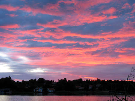 Red sunset in the archipelago in Northern Europe photo