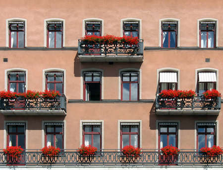 window shades: Wall from a hotel with beautiful balconies