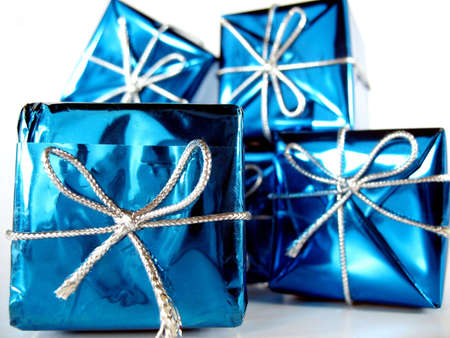 Christmas presents with very special gifts inside Stock Photo