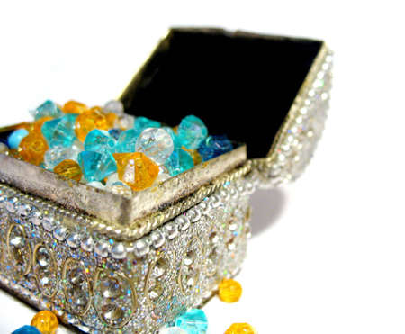 Coffer with jewels of all sorts Stock Photo