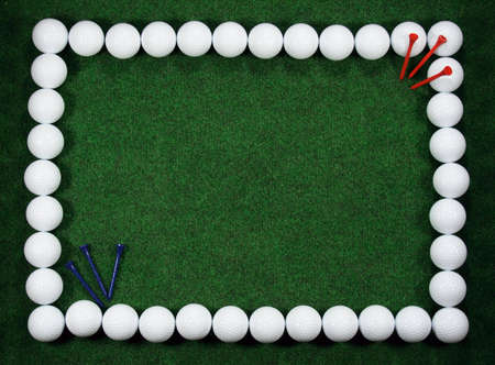Golf frame with message area, golfballs and pegs.
