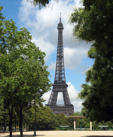 Eiffel Tower in steel covered in lovely green photo