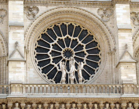 cathedrals: Beautiful church window on the Notre Dame cathedral in Paris.